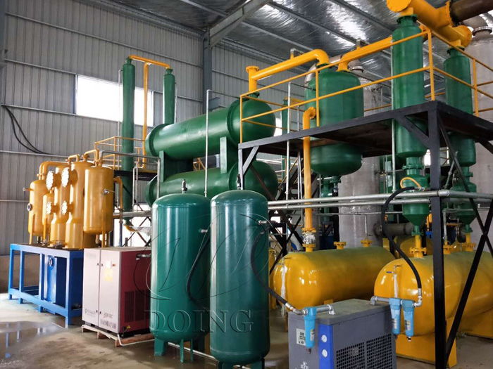 Four sets of 12 T/D waste tire pyrolysis equipment were installed in Fujian,China