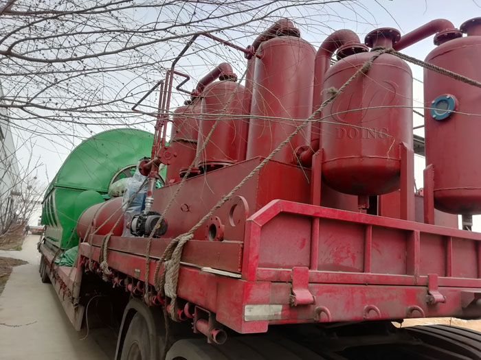 The delivery of four sets 12T waste tyre recycling plant to Guizhou, China