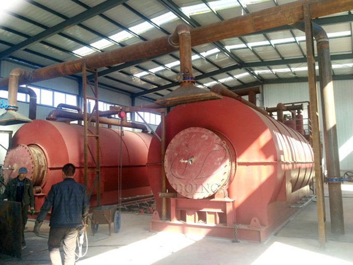 Inner Mongolia customer's 2 sets 12T/D waste tire pyrolysis plant successfully installed