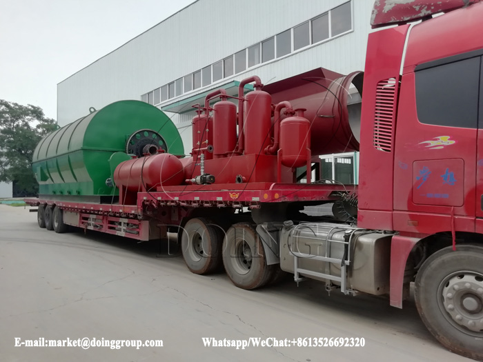 One set 12T waste tyre recycling pyrolysis plant was sent to Jiangxi, China