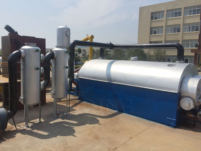 Operation site display of full set continuous waste tyre pyrolysis plant