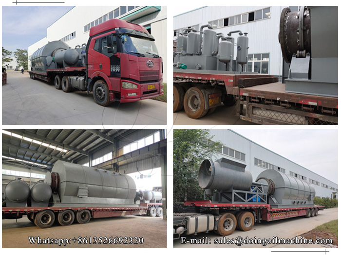 4 sets waste tire recycling pyrolysis plant will be sent to Peru
