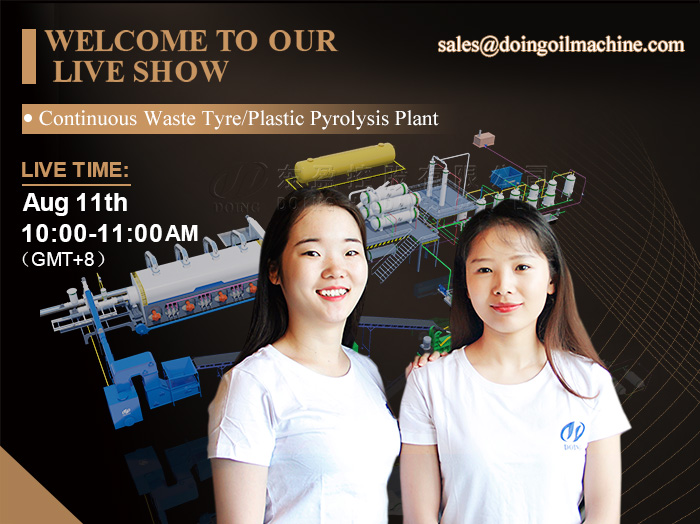 Continuous waste tyre/plastic pyrolysis plant live show