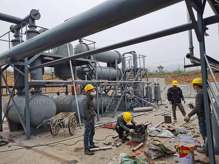 12 sets 12T waste tyre pyrolysis plant project video from Guangxi, China