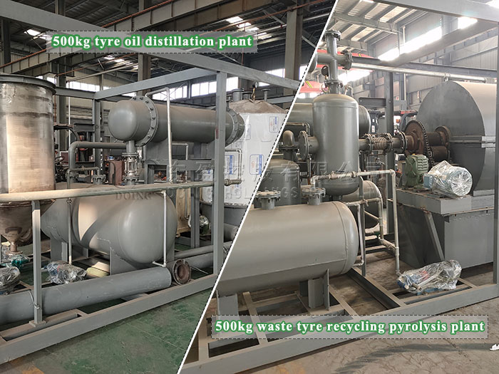 500kg waste tyre recycling pyrolysis plant and 500kg tyre oil distillation plant were sent to Chile