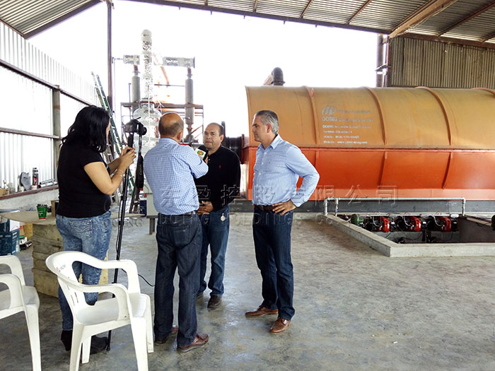 Mexico waste tyre pyrolysis plant project site video