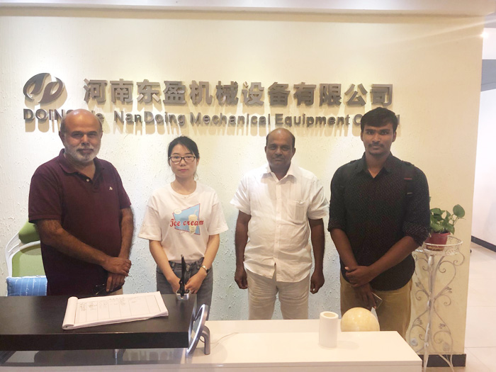 Three Indian customers visited the continuous waste tyre pyrolysis plant manufactured by DOING
