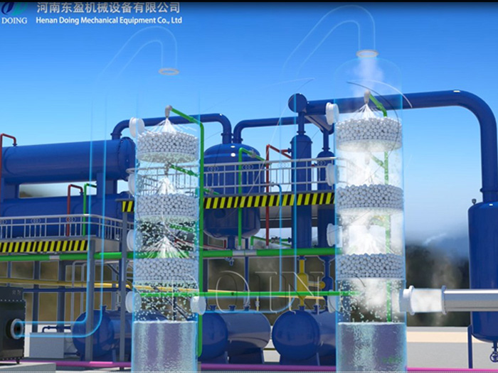 How does the waste tire pyrolysis plant deal with the waste gas generated in the production process?