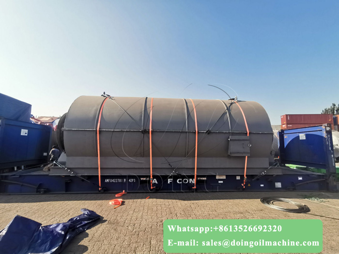 The newly upgraded 10T waste tyre recycling to oil pyrolysis plant was shipped to India