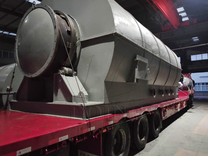 One set 12T waste tyre pyrolysis equipment was delivered to the Philippines
