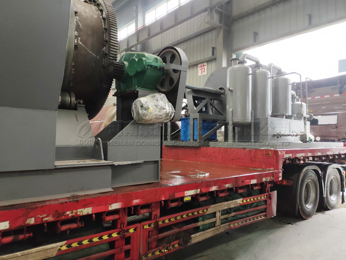 One set 10T waste tyre to oil plant was sent to Sri Lanka