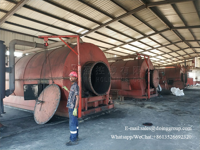 Nigeria 10T pyrolysis oil to diesel machine and 36T tyre pyro